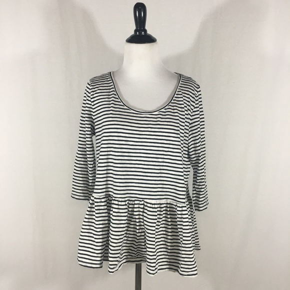 b0dac15202f8f0 Lindex Tops | Black White Striped Peplum Top | Poshmark